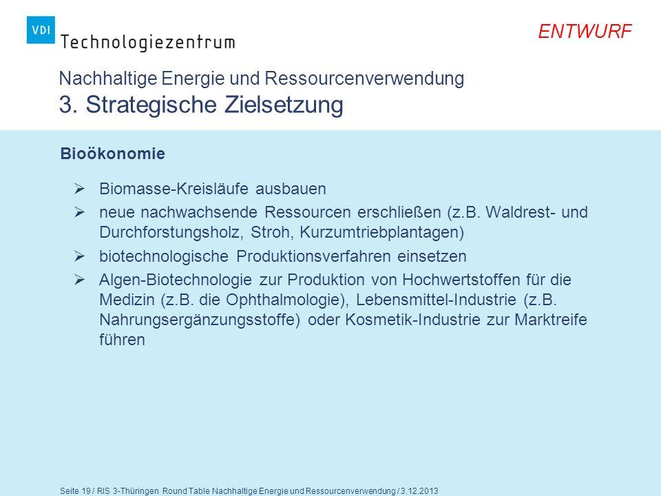 Seite 20 / RIS 3-Thüringen Round Table Nachhaltige Energie und Ressourcenverwendung / 3.12.2013 ENTWURF Fragen für die Diskussion 1.Können Sie den strategischen Zielsetzungen zustimmen.