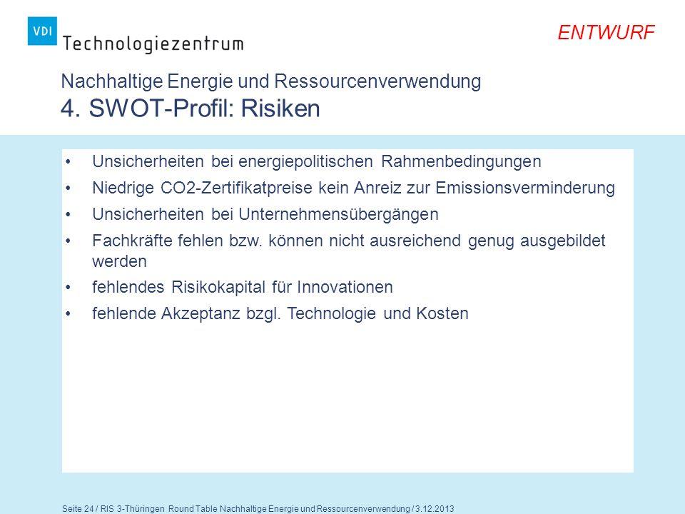 Seite 25 / RIS 3-Thüringen Round Table Nachhaltige Energie und Ressourcenverwendung / 3.12.2013 ENTWURF Fragen für die Diskussion 1.Teilen Sie die Einschätzungen zu den Stärken, Schwächen, Chancen und Risiken.
