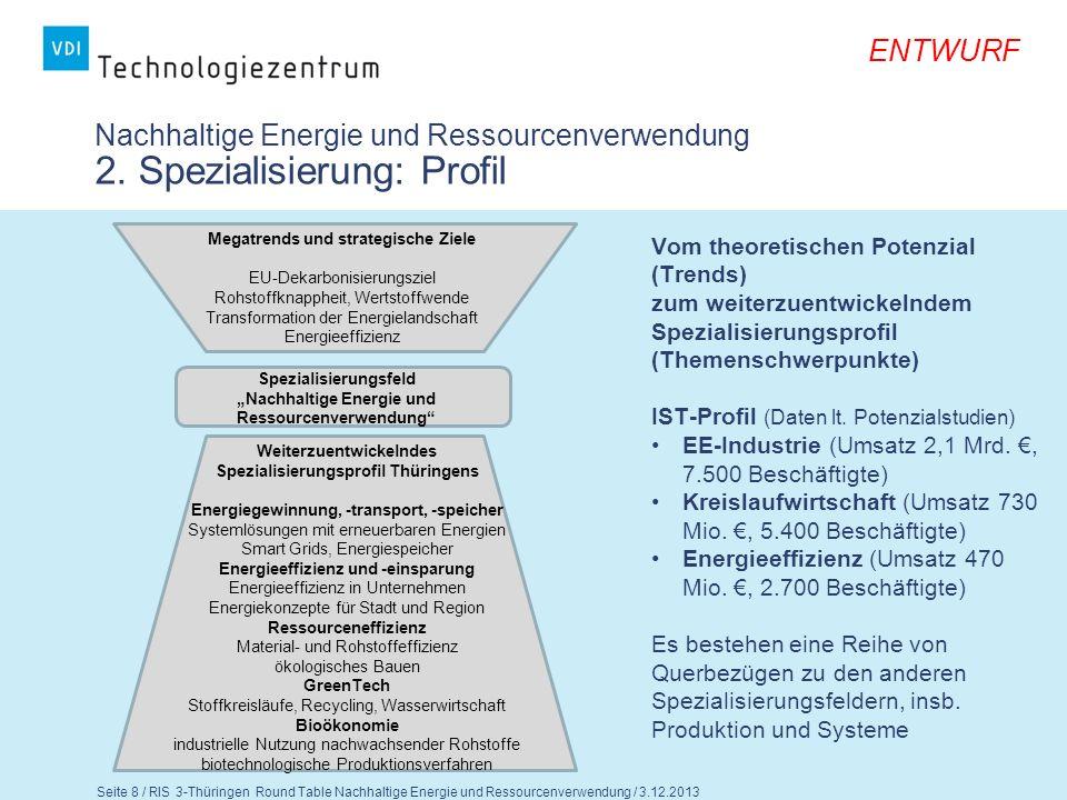 Seite 9 / RIS 3-Thüringen Round Table Nachhaltige Energie und Ressourcenverwendung / 3.12.2013 ENTWURF Nachhaltige Energie und Ressourcenverwendung 2.