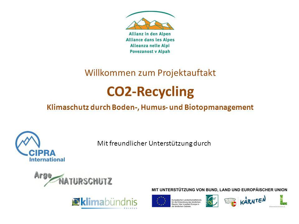 Willkommen zum Projektauftakt CO2-Recycling Klimaschutz durch Boden-, Humus- und Biotopmanagement Mit freundlicher Unterstützung durch