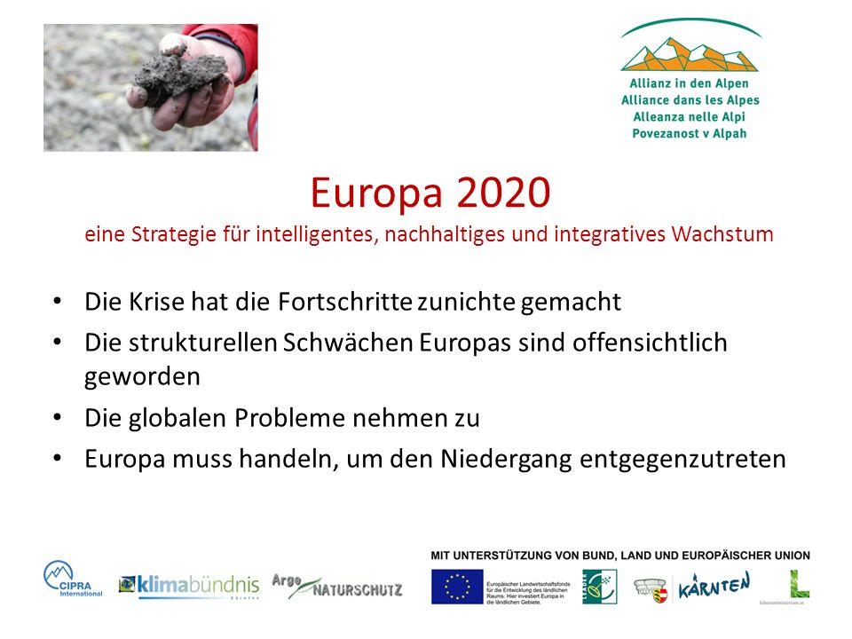 Europa 2020 eine Strategie für intelligentes, nachhaltiges und integratives Wachstum Die Krise hat die Fortschritte zunichte gemacht Die strukturellen Schwächen Europas sind offensichtlich geworden Die globalen Probleme nehmen zu Europa muss handeln, um den Niedergang entgegenzutreten
