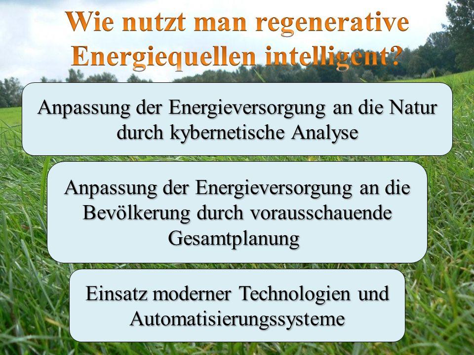 Anpassung der Energieversorgung an die Natur durch kybernetische Analyse Anpassung der Energieversorgung an die Bevölkerung durch vorausschauende Gesa