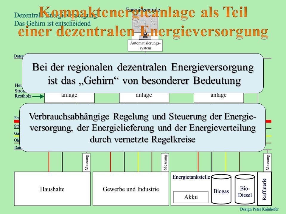 Bei der regionalen dezentralen Energieversorgung ist das Gehirn von besonderer Bedeutung Verbrauchsabhängige Regelung und Steuerung der Energie- verso
