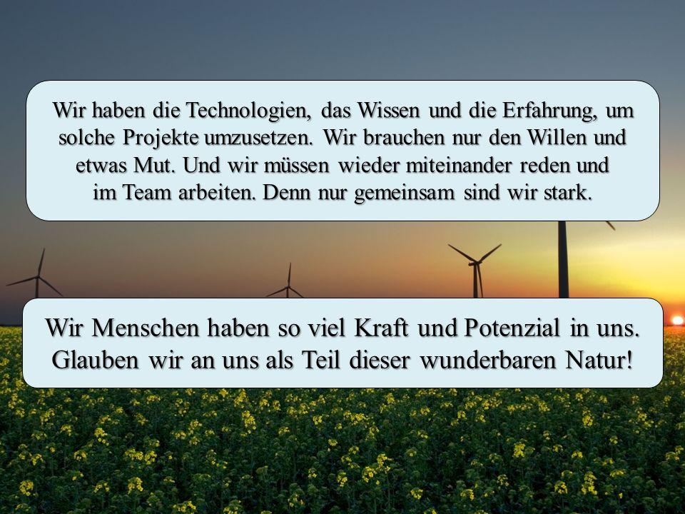 Wir haben die Technologien, das Wissen und die Erfahrung, um solche Projekte umzusetzen. Wir brauchen nur den Willen und etwas Mut. Und wir müssen wie
