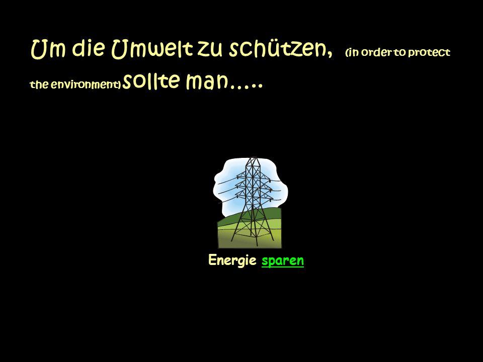Um die Umwelt zu schützen, (in order to protect the environment) sollte man….. Energie sparen