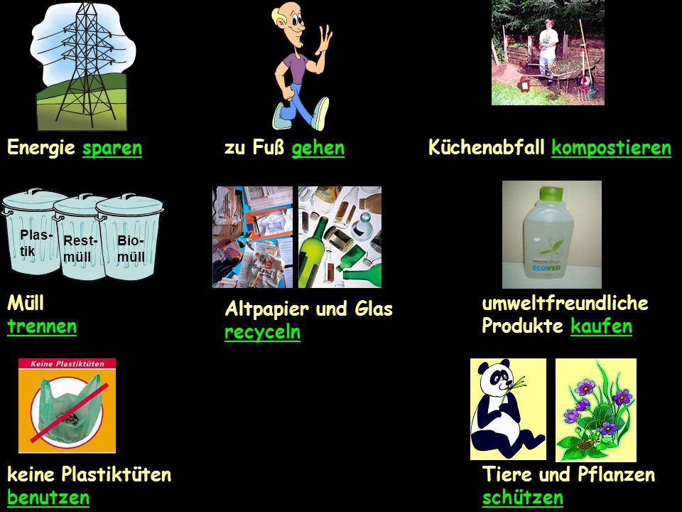 Energie sparenzu Fuß gehenKüchenabfall kompostieren Plas- tik Rest- müll Bio- müll Müll trennen umweltfreundliche Produkte kaufen keine Plastiktüten benutzen Tiere und Pflanzen schützen Altpapier und Glas recyceln
