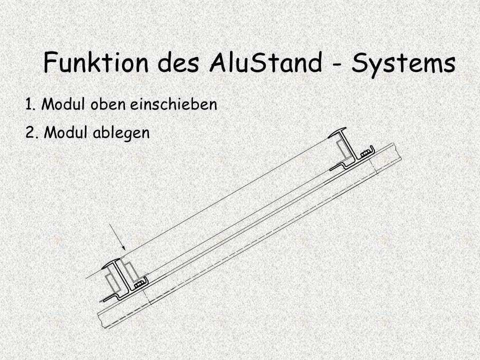 Funktion des AluStand - Systems 1. Modul oben einschieben