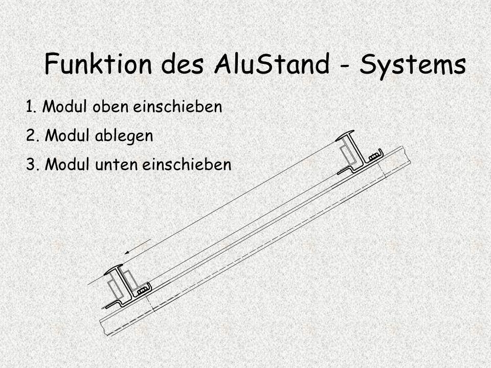 Funktion des AluStand - Systems 1. Modul oben einschieben 2. Modul ablegen