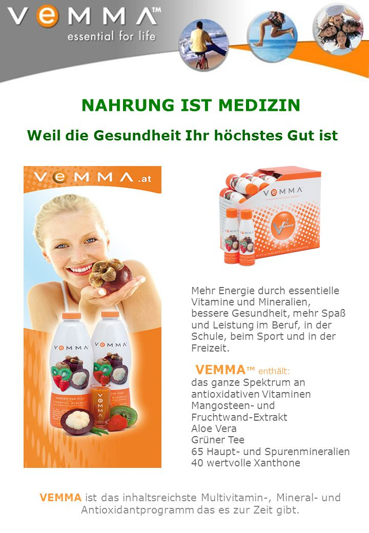 VEMMA enthält: das ganze Spektrum an antioxidativen Vitaminen Mangosteen- und Fruchtwand-Extrakt Aloe Vera Grüner Tee 65 Haupt- und Spurenmineralien 4