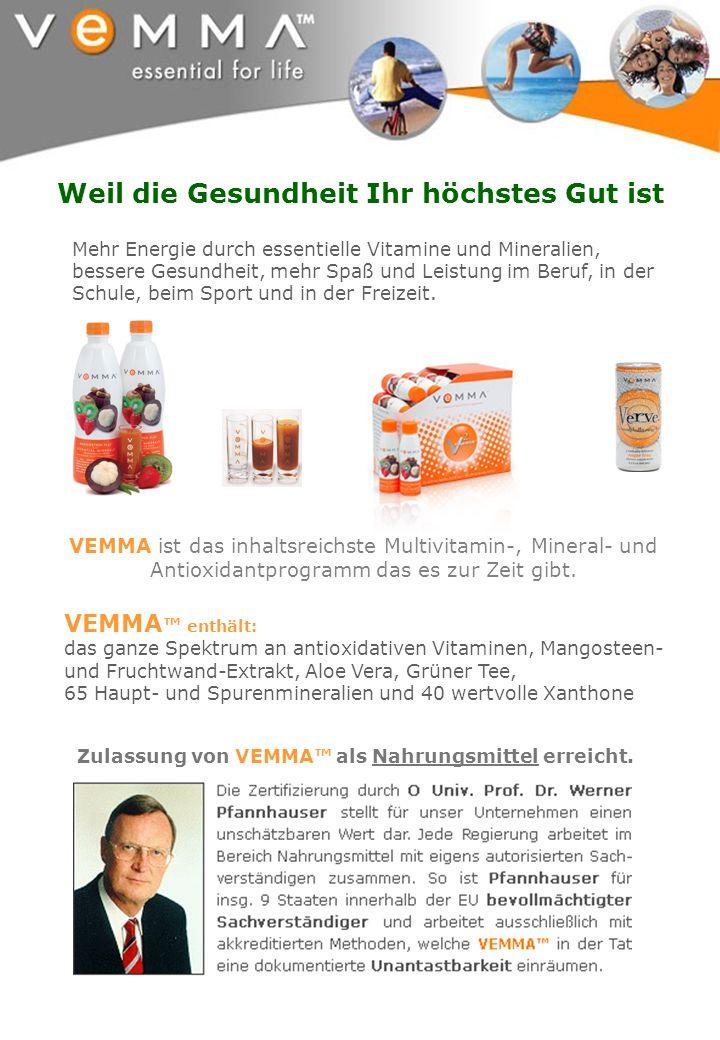 VEMMA enthält: das ganze Spektrum an antioxidativen Vitaminen, Mangosteen- und Fruchtwand-Extrakt, Aloe Vera, Grüner Tee, 65 Haupt- und Spurenminerali