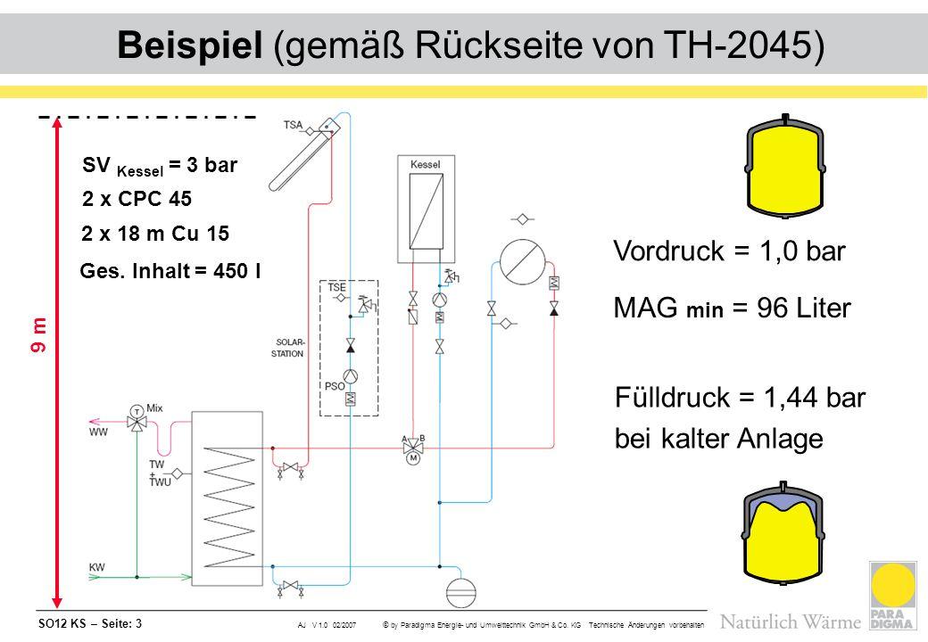 SO12 KS – Seite: 3 AJ V 1.0 02/2007 © by Paradigma Energie- und Umwelttechnik GmbH & Co. KG Technische Änderungen vorbehalten Beispiel (gemäß Rückseit