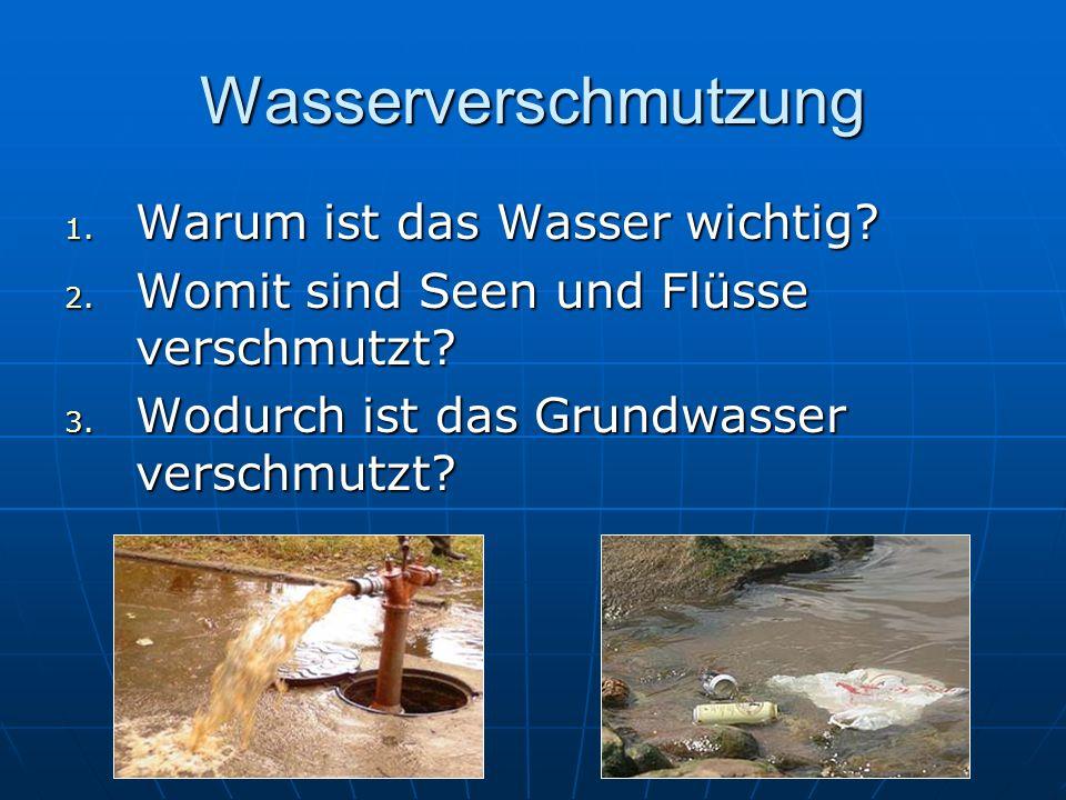 Wasserverschmutzung 1. W arum ist das Wasser wichtig? 2. W omit sind Seen und Flüsse verschmutzt? 3. W odurch ist das Grundwasser verschmutzt?