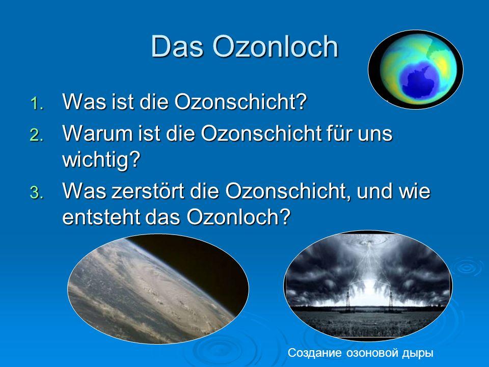 Das Ozonloch 1. Was ist die Ozonschicht? 2. Warum ist die Ozonschicht für uns wichtig? 3. Was zerstört die Ozonschicht, und wie entsteht das Ozonloch?