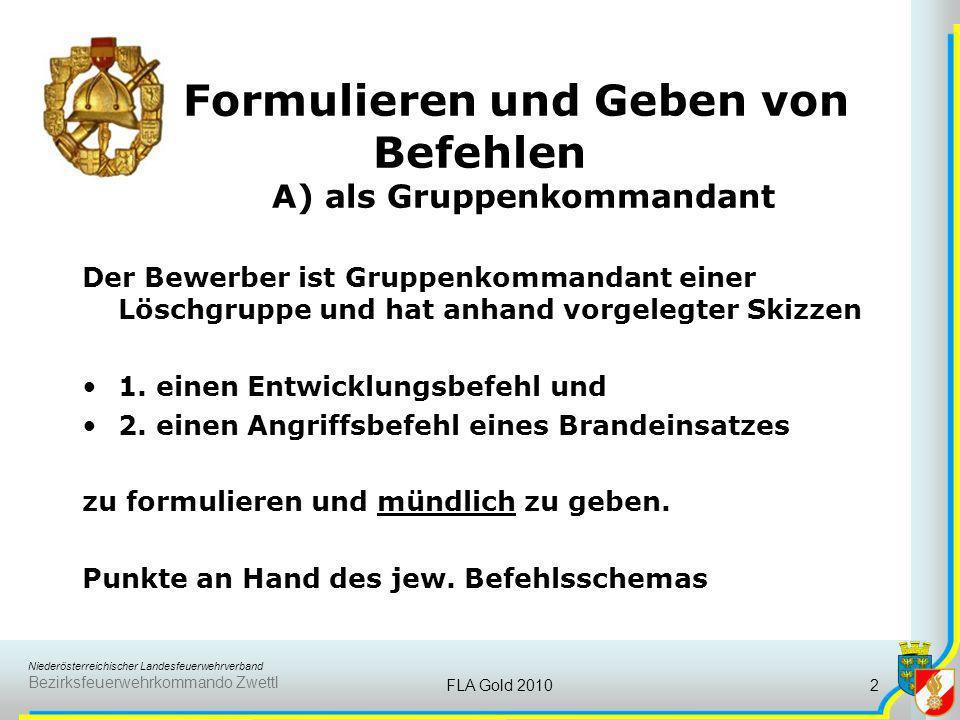 Niederösterreichischer Landesfeuerwehrverband Bezirksfeuerwehrkommando Zwettl FLA Gold 20102 Formulieren und Geben von Befehlen A) als Gruppenkommanda