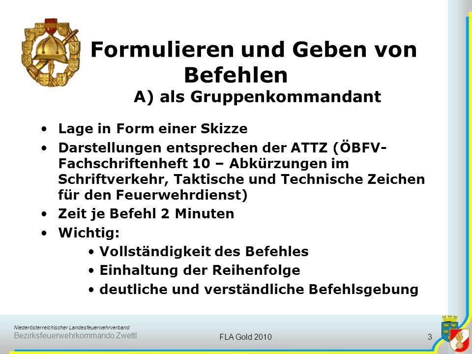 Niederösterreichischer Landesfeuerwehrverband Bezirksfeuerwehrkommando Zwettl FLA Gold 20103 Formulieren und Geben von Befehlen A) als Gruppenkommanda