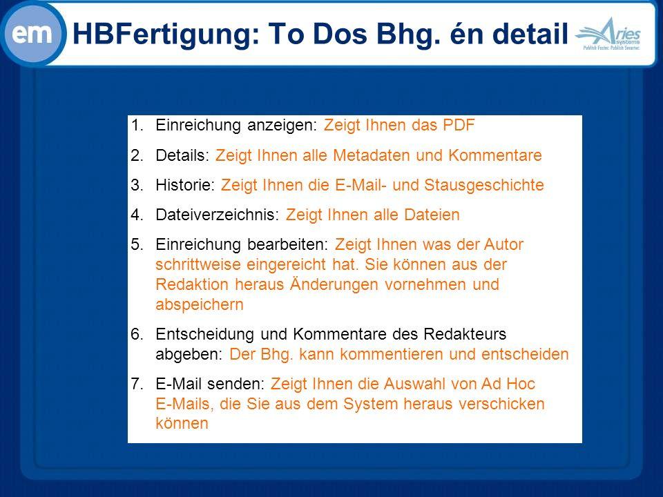 HBFertigung: To Dos Bhg.