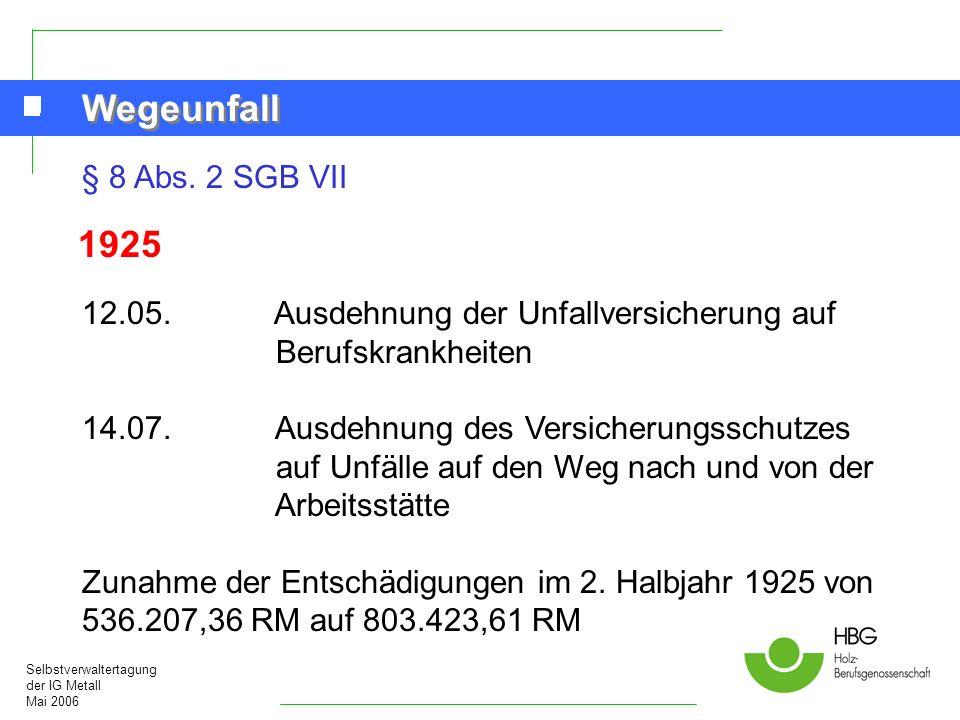 Selbstverwaltertagung der IG Metall Mai 2006 Wegeunfall § 8 Abs. 2 SGB VII 1925 12.05.Ausdehnung der Unfallversicherung auf Berufskrankheiten 14.07. A