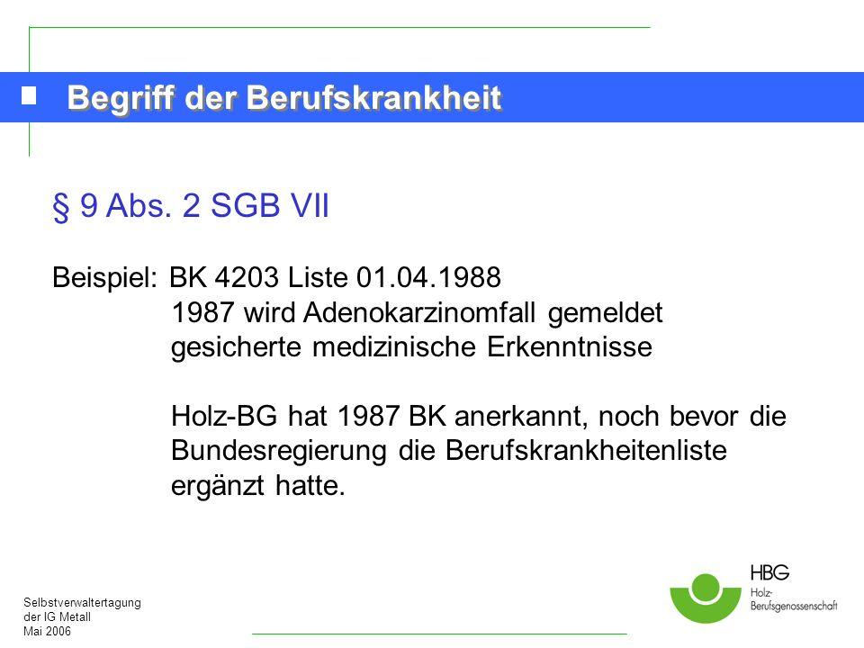 Selbstverwaltertagung der IG Metall Mai 2006 Begriff der Berufskrankheit § 9 Abs. 2 SGB VII Beispiel: BK 4203 Liste 01.04.1988 1987 wird Adenokarzinom