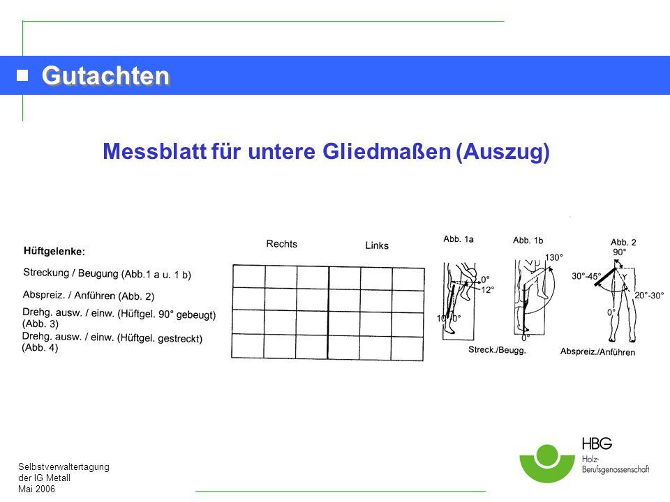 Selbstverwaltertagung der IG Metall Mai 2006 Gutachten Messblatt für untere Gliedmaßen (Auszug)