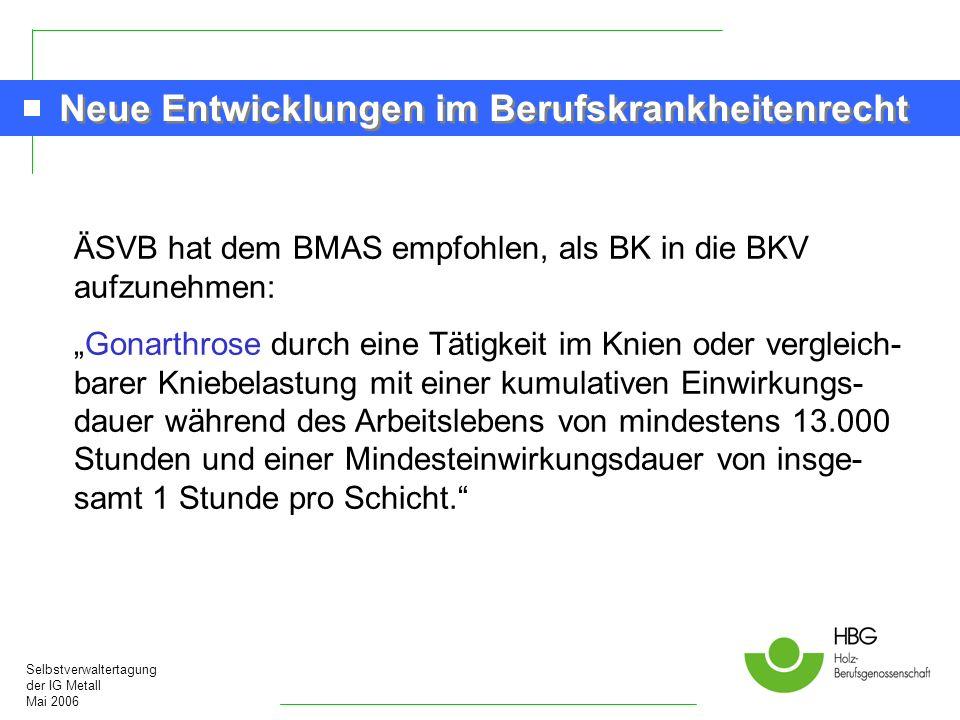 Selbstverwaltertagung der IG Metall Mai 2006 Neue Entwicklungen im Berufskrankheitenrecht ÄSVB hat dem BMAS empfohlen, als BK in die BKV aufzunehmen: