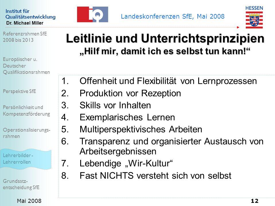 Referenzrahmen SfE 2008 bis 2013 Europäischer u. Deutscher Qualifikationsrahmen Perspektive SfE Persönlichkeit und Kompetenzförderung Operationalisier
