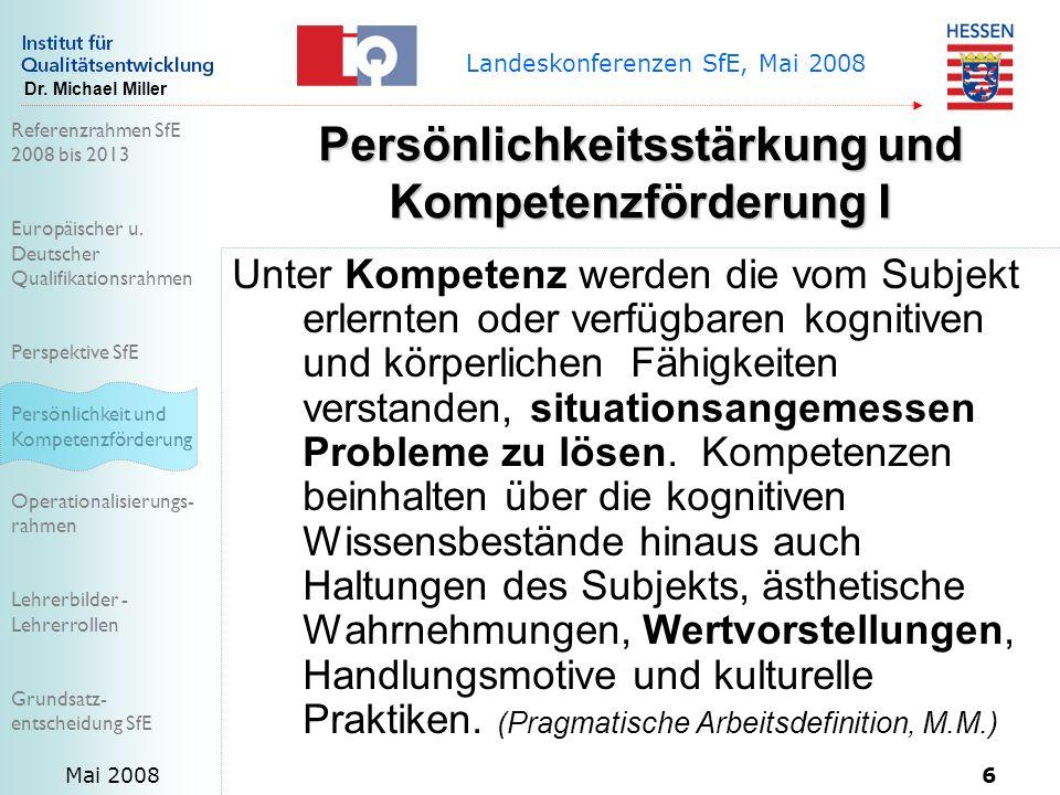 Referenzrahmen SfE 2008 bis 2013 Europäischer u.