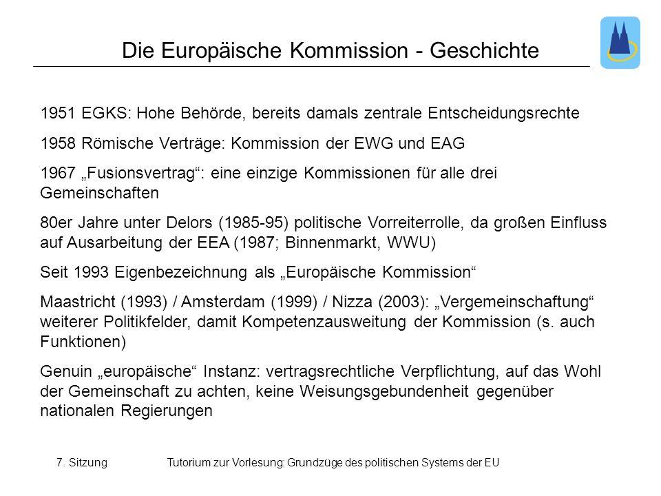 7. SitzungTutorium zur Vorlesung: Grundzüge des politischen Systems der EU Die Europäische Kommission - Geschichte 1951 EGKS: Hohe Behörde, bereits da