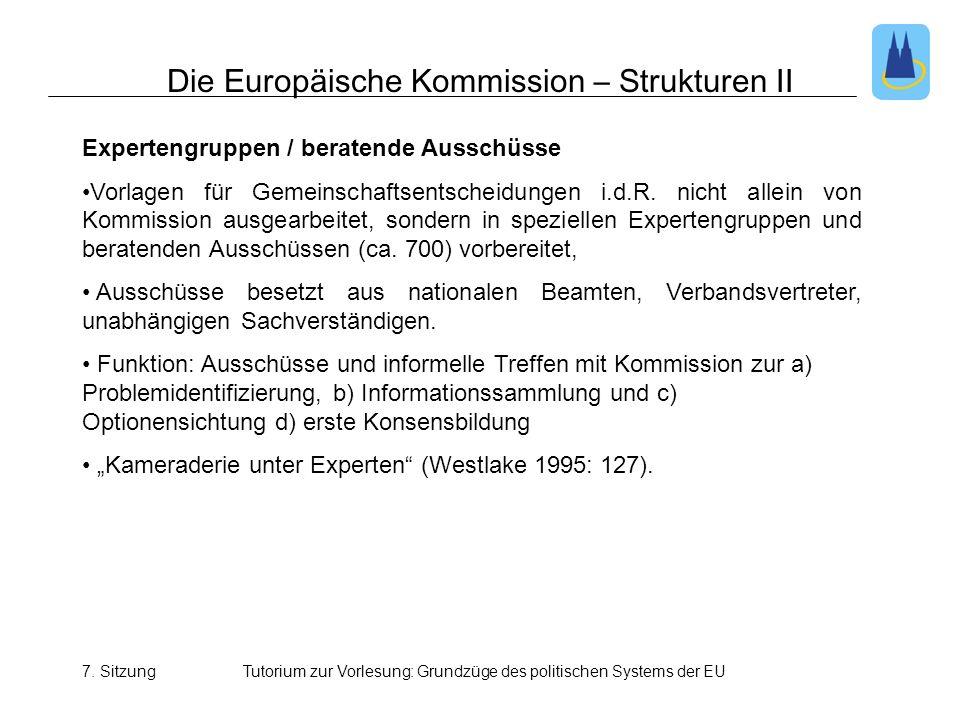7. SitzungTutorium zur Vorlesung: Grundzüge des politischen Systems der EU Die Europäische Kommission – Strukturen II Expertengruppen / beratende Auss