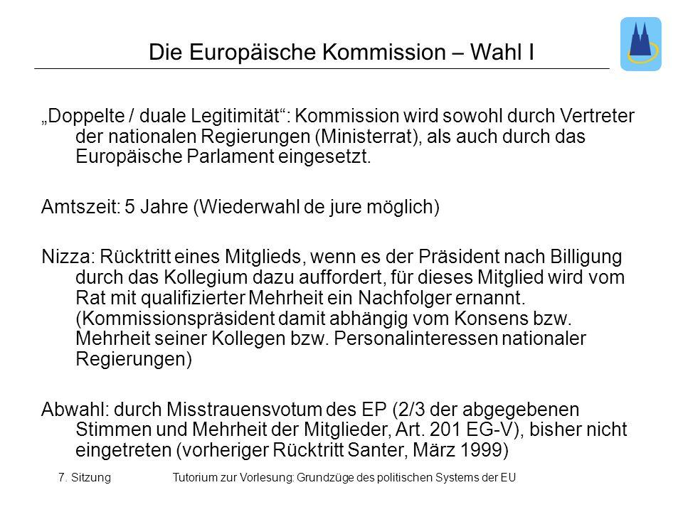 7. SitzungTutorium zur Vorlesung: Grundzüge des politischen Systems der EU Die Europäische Kommission – Wahl I Doppelte / duale Legitimität: Kommissio