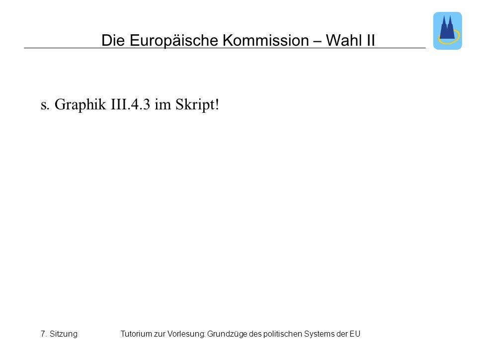 7. SitzungTutorium zur Vorlesung: Grundzüge des politischen Systems der EU Die Europäische Kommission – Wahl II s. Graphik III.4.3 im Skript!
