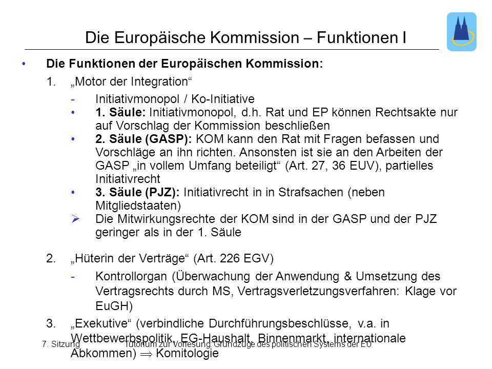 7. SitzungTutorium zur Vorlesung: Grundzüge des politischen Systems der EU Die Europäische Kommission – Funktionen I Die Funktionen der Europäischen K