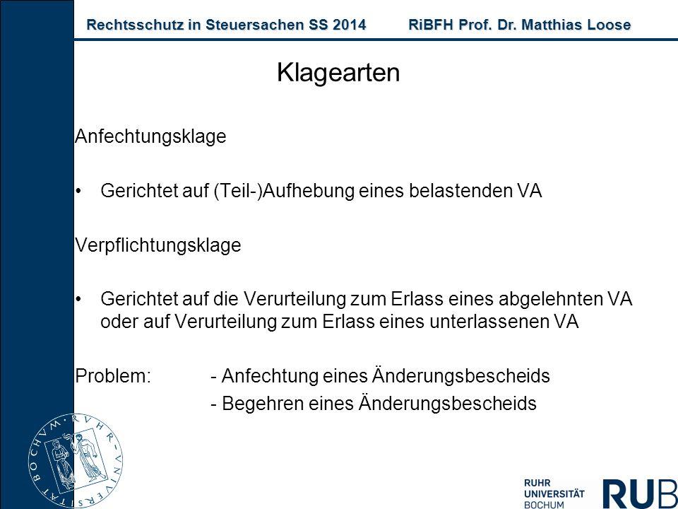 Rechtsschutz in Steuersachen SS 2014RiBFH Prof. Dr. Matthias Loose Rechtsschutz in Steuersachen SS 2014RiBFH Prof. Dr. Matthias Loose Klagearten Anfec