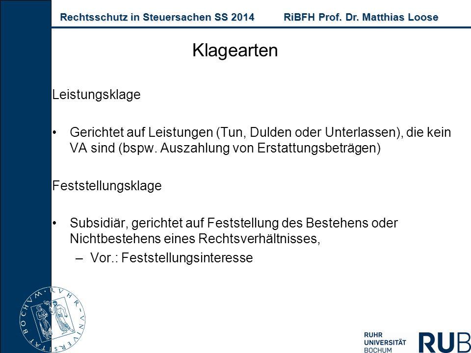 Rechtsschutz in Steuersachen SS 2014RiBFH Prof. Dr. Matthias Loose Rechtsschutz in Steuersachen SS 2014RiBFH Prof. Dr. Matthias Loose Leistungsklage G