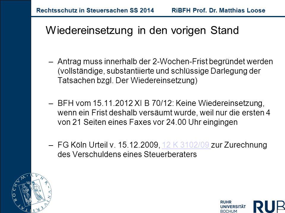 Rechtsschutz in Steuersachen SS 2014RiBFH Prof. Dr. Matthias Loose Rechtsschutz in Steuersachen SS 2014RiBFH Prof. Dr. Matthias Loose –Antrag muss inn