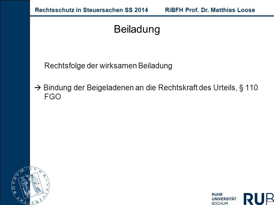 Rechtsschutz in Steuersachen SS 2014RiBFH Prof. Dr. Matthias Loose Rechtsschutz in Steuersachen SS 2014RiBFH Prof. Dr. Matthias Loose Rechtsfolge der
