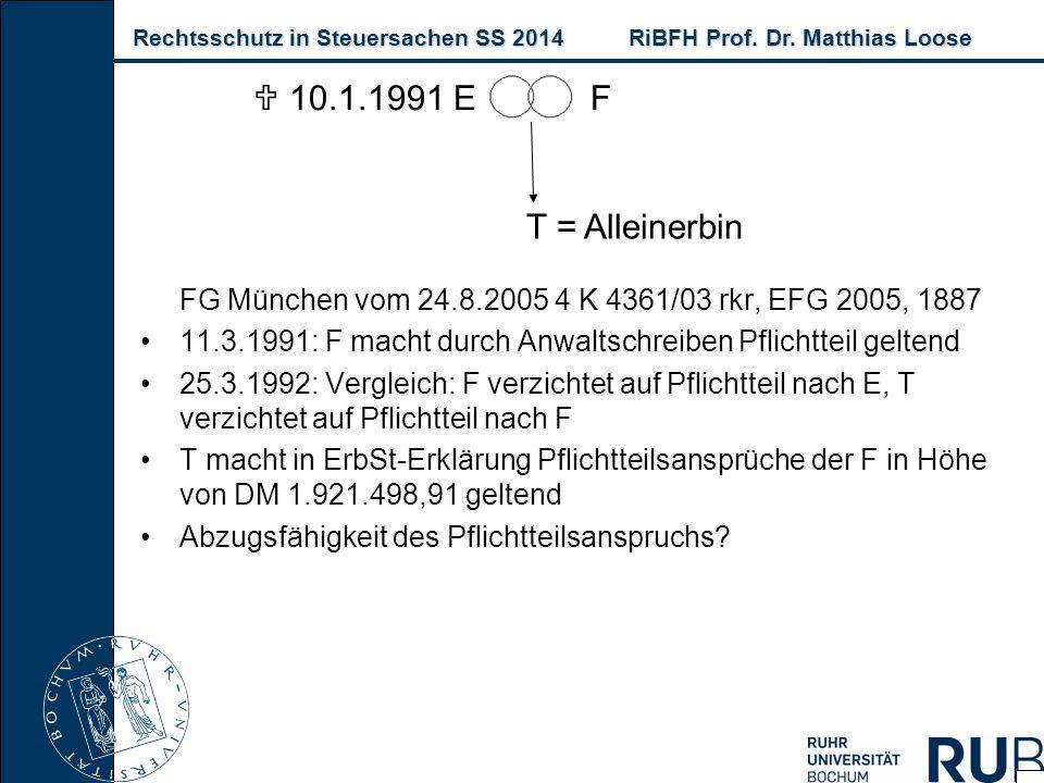 Rechtsschutz in Steuersachen SS 2014RiBFH Prof. Dr. Matthias Loose Rechtsschutz in Steuersachen SS 2014RiBFH Prof. Dr. Matthias Loose FG München vom 2
