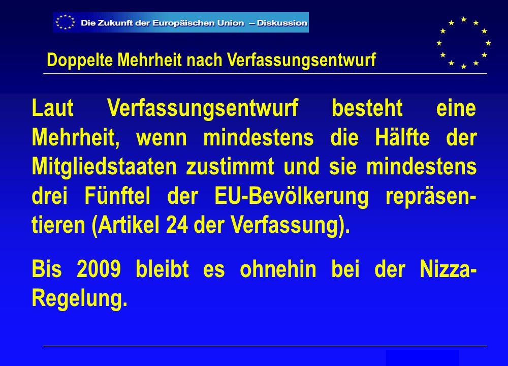 Secrétariat général Doppelte Mehrheit nach Verfassungsentwurf Laut Verfassungsentwurf besteht eine Mehrheit, wenn mindestens die Hälfte der Mitgliedstaaten zustimmt und sie mindestens drei Fünftel der EU-Bevölkerung repräsen- tieren (Artikel 24 der Verfassung).