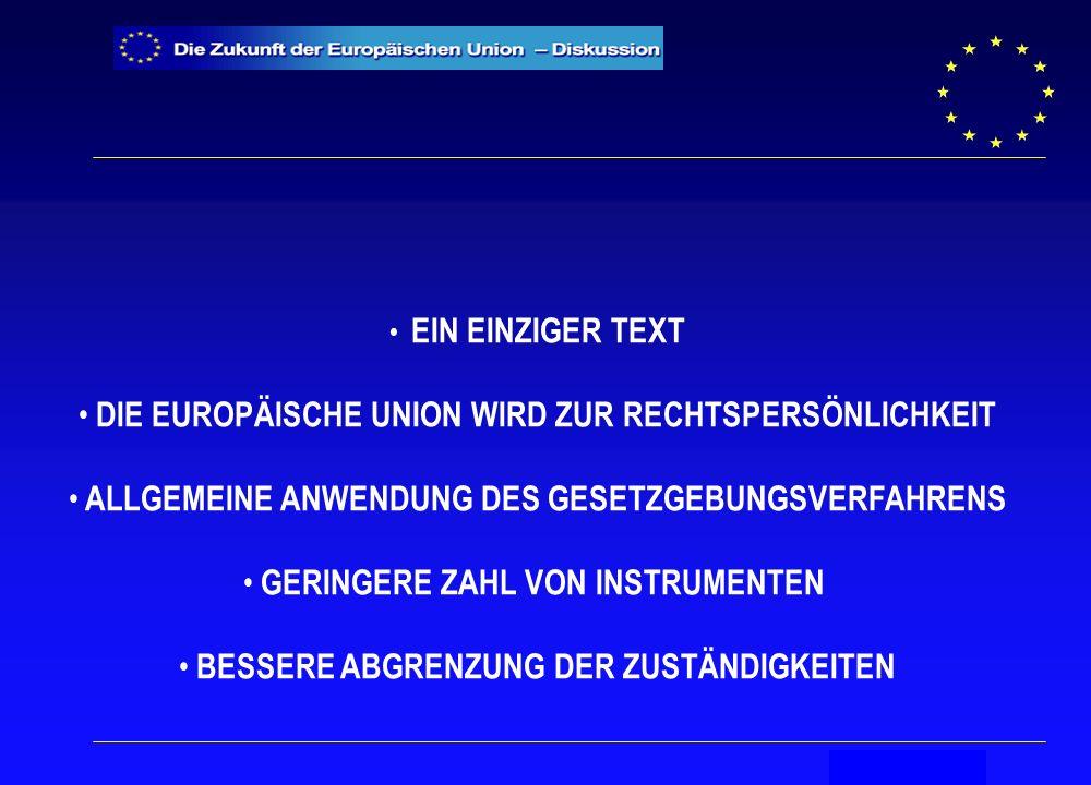 Secrétariat général EIN EINZIGER TEXT DIE EUROPÄISCHE UNION WIRD ZUR RECHTSPERSÖNLICHKEIT ALLGEMEINE ANWENDUNG DES GESETZGEBUNGSVERFAHRENS GERINGERE ZAHL VON INSTRUMENTEN BESSERE ABGRENZUNG DER ZUSTÄNDIGKEITEN