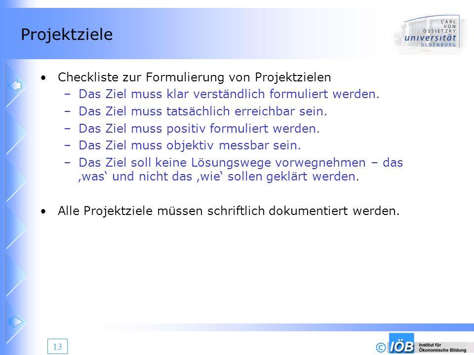 © 13 Projektziele Checkliste zur Formulierung von Projektzielen –Das Ziel muss klar verständlich formuliert werden. –Das Ziel muss tatsächlich erreich