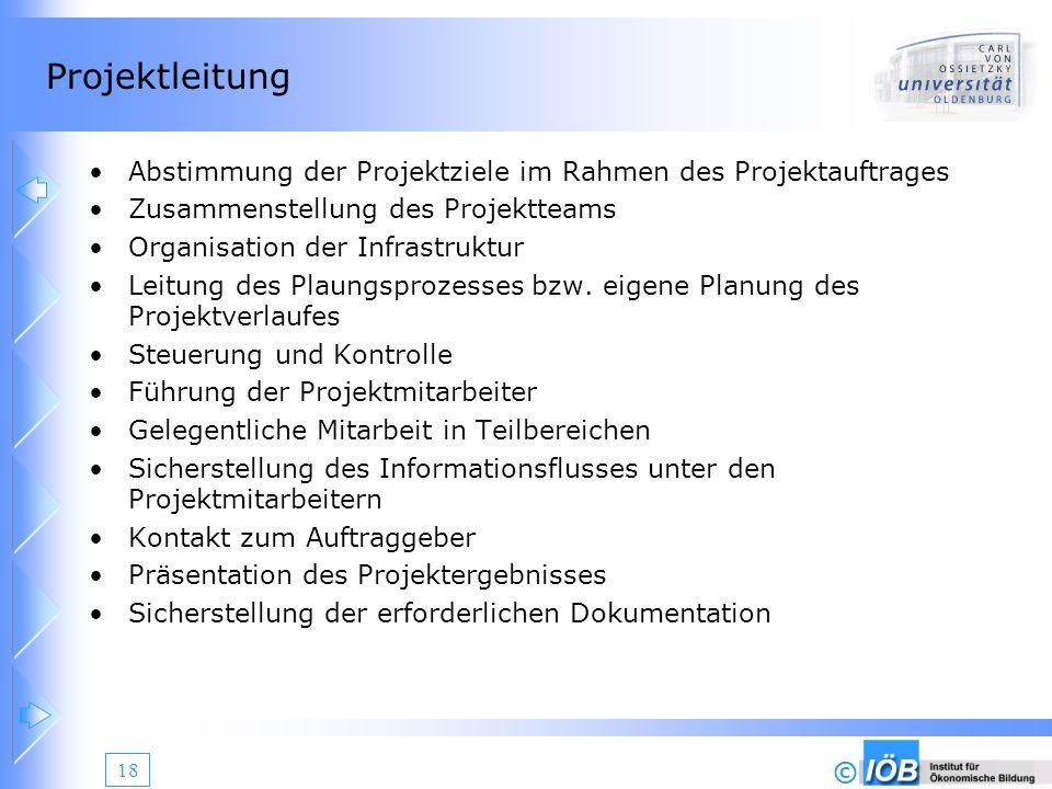 © 18 Projektleitung Abstimmung der Projektziele im Rahmen des Projektauftrages Zusammenstellung des Projektteams Organisation der Infrastruktur Leitun