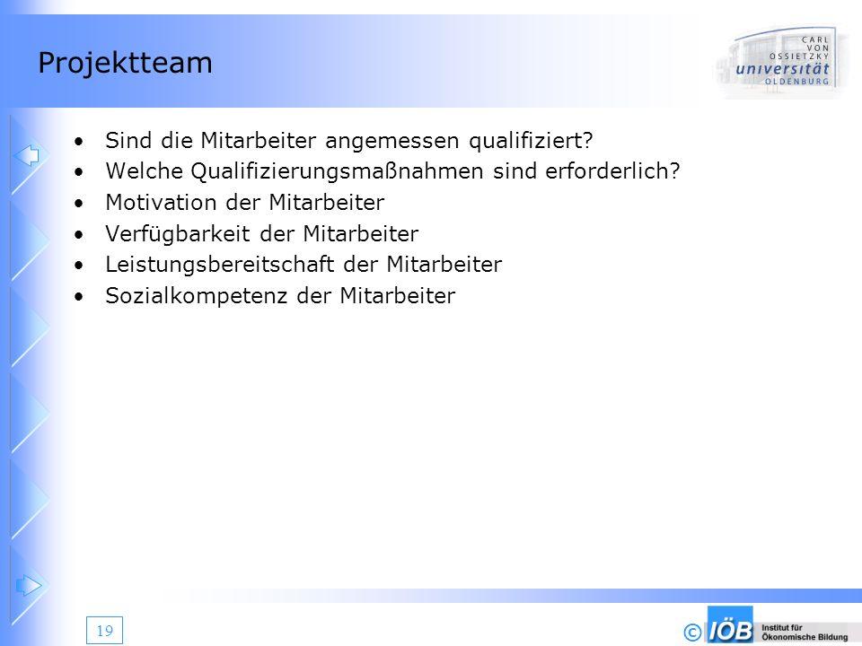 © 19 Projektteam Sind die Mitarbeiter angemessen qualifiziert? Welche Qualifizierungsmaßnahmen sind erforderlich? Motivation der Mitarbeiter Verfügbar