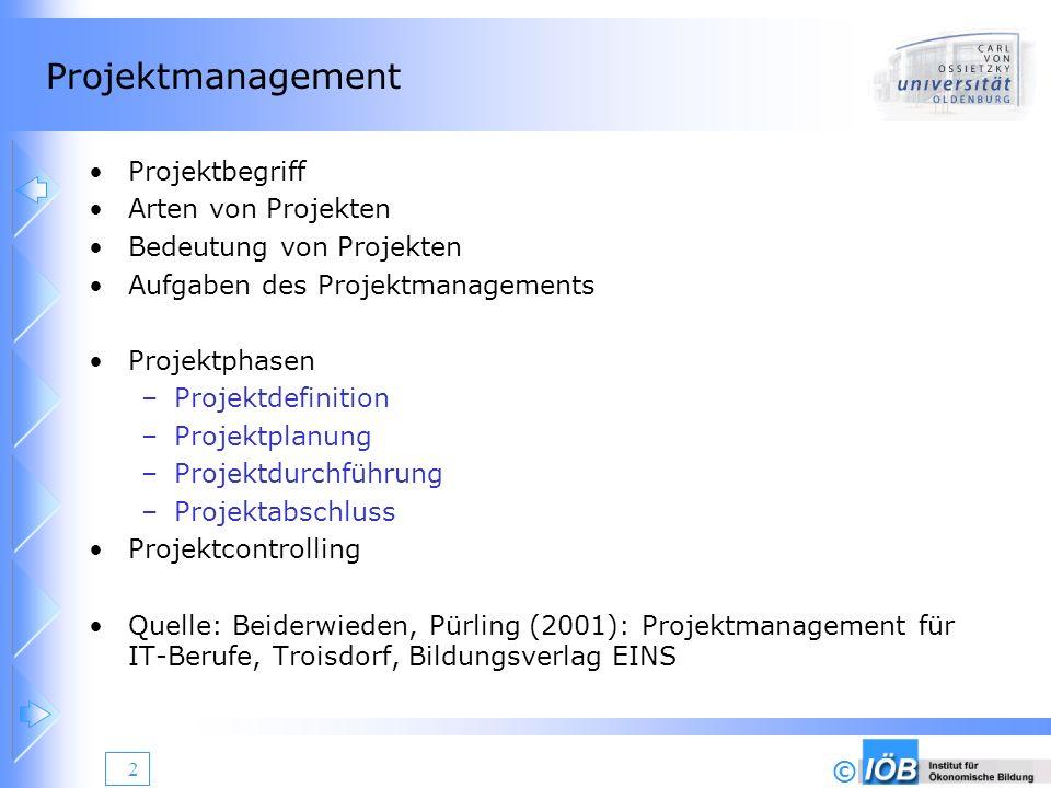 © 2 Projektmanagement Projektbegriff Arten von Projekten Bedeutung von Projekten Aufgaben des Projektmanagements Projektphasen –Projektdefinition –Pro