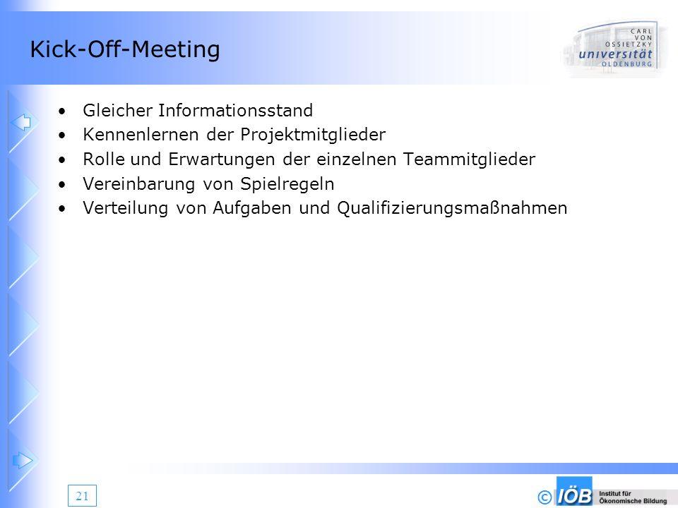 © 21 Kick-Off-Meeting Gleicher Informationsstand Kennenlernen der Projektmitglieder Rolle und Erwartungen der einzelnen Teammitglieder Vereinbarung vo