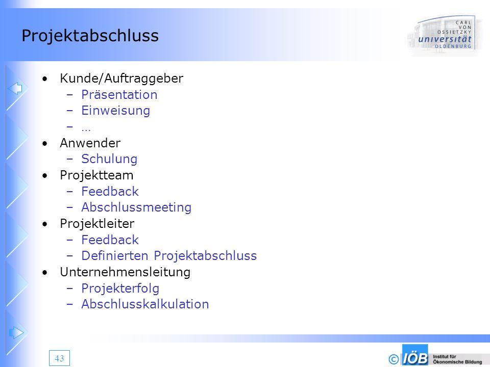 © 43 Projektabschluss Kunde/Auftraggeber –Präsentation –Einweisung –… Anwender –Schulung Projektteam –Feedback –Abschlussmeeting Projektleiter –Feedba