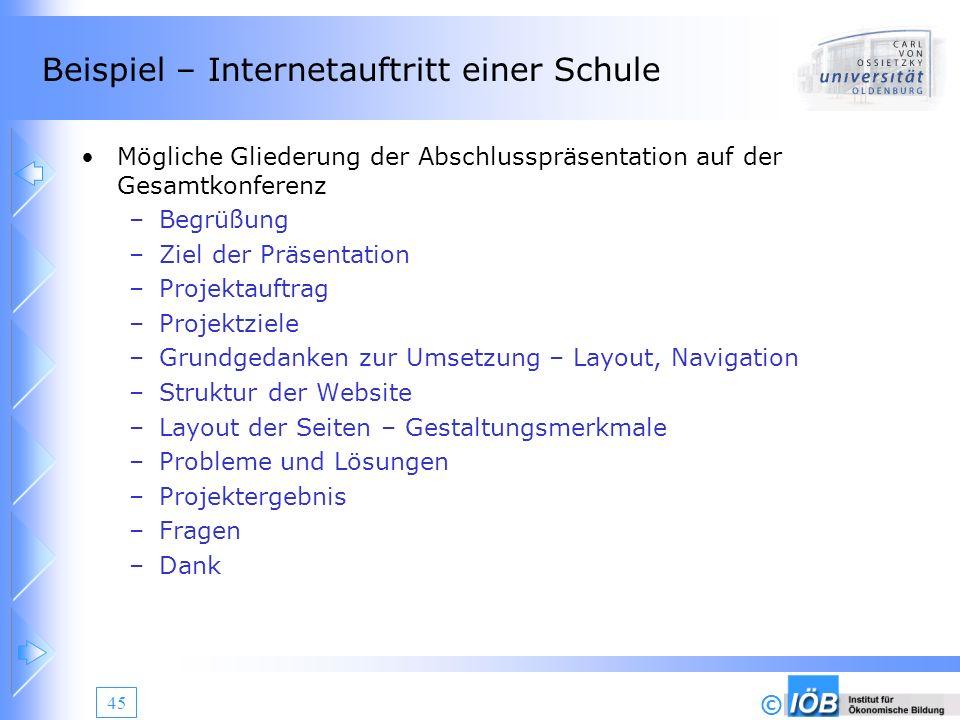© 45 Beispiel – Internetauftritt einer Schule Mögliche Gliederung der Abschlusspräsentation auf der Gesamtkonferenz –Begrüßung –Ziel der Präsentation