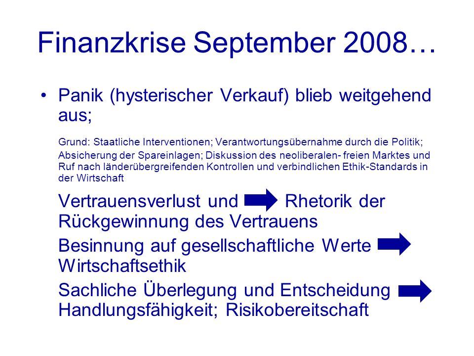 Finanzkrise September 2008… Panik (hysterischer Verkauf) blieb weitgehend aus; Grund: Staatliche Interventionen; Verantwortungsübernahme durch die Pol