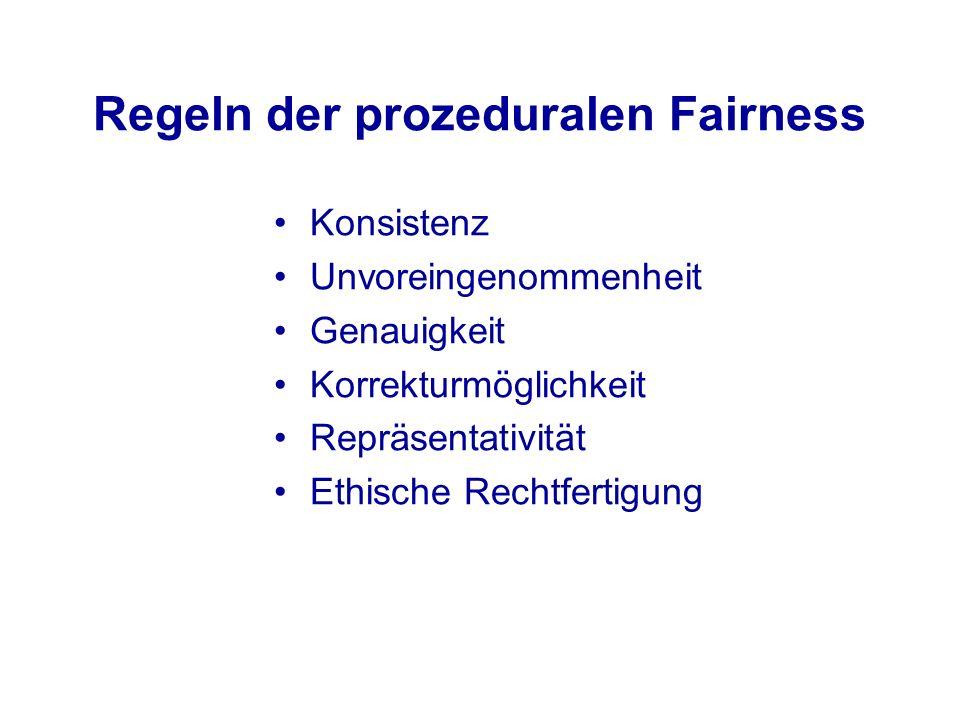 Regeln der prozeduralen Fairness Konsistenz Unvoreingenommenheit Genauigkeit Korrekturmöglichkeit Repräsentativität Ethische Rechtfertigung