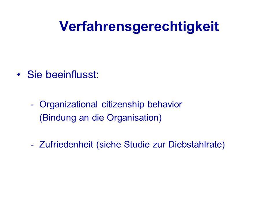 Verfahrensgerechtigkeit Sie beeinflusst: -Organizational citizenship behavior (Bindung an die Organisation) -Zufriedenheit (siehe Studie zur Diebstahl