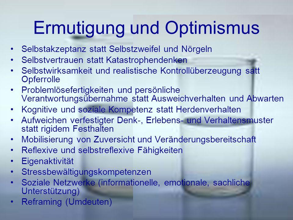 Ermutigung und Optimismus Selbstakzeptanz statt Selbstzweifel und Nörgeln Selbstvertrauen statt Katastrophendenken Selbstwirksamkeit und realistische
