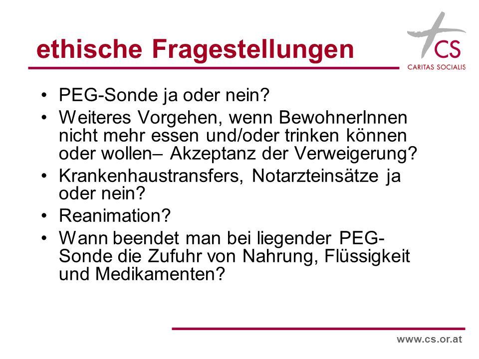 www.cs.or.at ethische Fragestellungen PEG-Sonde ja oder nein.
